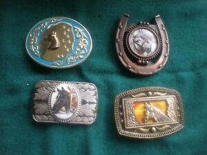 lot of 4 vintage Belt Buckles, Western, Horse