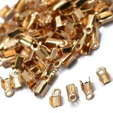 100pcs Cord End Caps Clamps Tips Rose Gold Plated Jewelry Findings 10x4.5mm