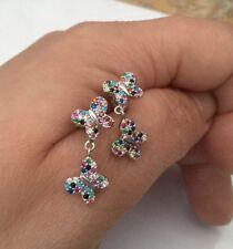 Sterling Silver 925 Multi Gems Butterfly Dangle Stud Earrings