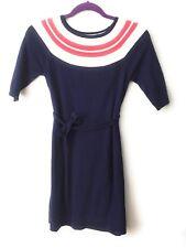 Lilly Pulitzer Girls Size 8-10 Sweater Dress Navy Pink Belt Pockets