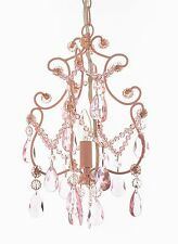 Wrought Iron & Crystal 1 Light Mini Chandelier Pendant Pink Lighting Kid's Girls