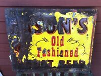 Original Mason's Old Fashioned Root Beer Embossed Metal Sign with Stank