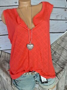 Vivance Ladies Blouse Tunic Button Row Red Patterned Elastic Band (545) New
