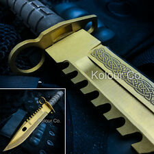 "13"" CS GO Tactical Fixed Blade Hunting Knife Bayonet Bowie LORE GOLD New"