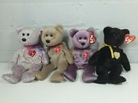 Ty Beanie Babies Bundle Signature Bears X 4 With Tags 1999 2000 2001 2003