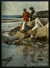 Gustave Gain autochrome photo, Adeline Gain at Seashore with friends, 1910