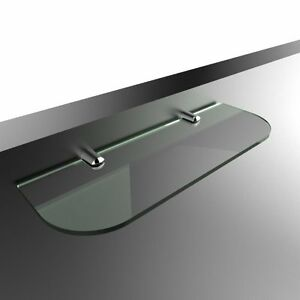 Straight Acrylic Safety Shelf with Chrome Supports - Curved Edges