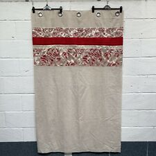 """Dunelm Beige Red Linen Blend Lined Tab Top Curtains 92x72"""" Exc Con"""