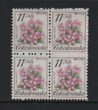 CZECHOSLOVAKIA 1991 11k. NATURE PROTECTION. FLOWERS BLOCK OF 4 *VF MNH*