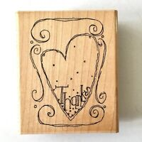 JRL Design Thanks From the Bottom of my Heart Rubber Stamp Thank You Card Wood