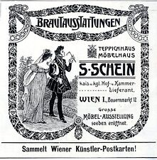 S.Schein Wien TEPPICH-& MÖBELHAUS BRAUTAUSSTATTUNGEN Historische Annonce 1909