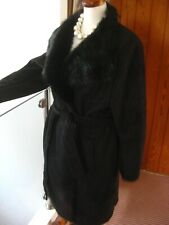 Ladies M&S black faux suede long TEDDY COAT UK 18 16 fur collar sheepskin belt