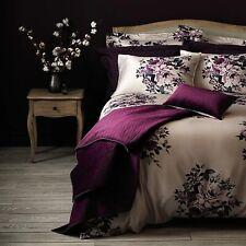 Dunelm Purple Satin Floral Double Duvet Set 'Violet Plum'