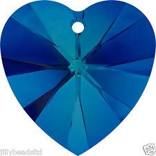 Swarovski 6228 Xilion Heart Pendant Bermuda Blue Pack of 4