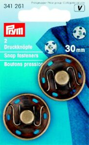 2 Prym Pushbuttons for Sewing 1 3/16in Old Brass 341261
