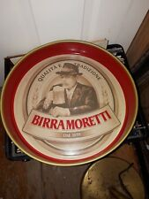 VINTAGE BIRRA MORETTI ADVERTISING ITALIAN BEER TRAY TWO SIDED