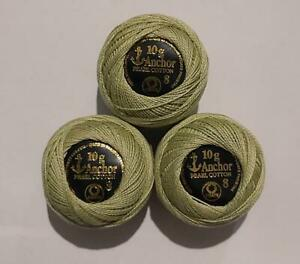 3 Anchor pearl Cotton Solid Embroidery stitch Thread ball 85m Size 8 sage Green