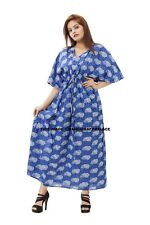 Women Plus Size Tunic Long Gown Bath Robe Kaftan Casual Dress Indian Cotton Boho
