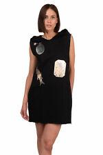 MM6 MAISON MARGIELA SWEATSHIRT HOODIE DRESS BLACK, SIZE XS