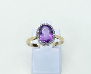 18ct/ 18k Gold Amethyst & Diamond Ring, Size L/5.75, Engagement
