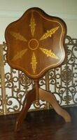 Vintage Tilt Top Table 3 Leg Pie Crust Edge Hand Painted Art QUALITY HARD WOOD