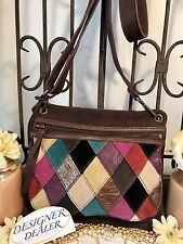 Auth~Fossil~ Brown Suede Multi Color Patchwork Cross Body ZB2995 VGC!