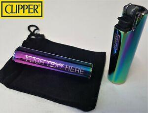 CLIPPER ENGRAVED RAINBOW LIGHTER Steel Metal Personalised Birthday Gift N