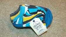 Faded Glory Baby/Boys Socks-6 Pairs-No Show-Blue/Gray/White-Fits Shoe Sz 4-9-New