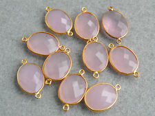 Vermeil Bezel Natural Pink Rose Quartz Faceted Oval Gemstone Connector 15x26mm.