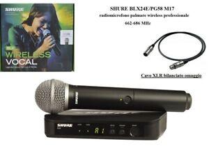 Shure BLX24E/PG58 Radiomicrofono palmare Microfono wireless professionale + cavo