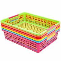 6Pcs 6 Colors Paper Pen & Pencil Baskets Trays for Classroom Organizer Storage