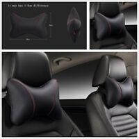 2 Pcs PU Leather Car Headrest Seat Head Neck Rest Pillows Breathable Comfortable