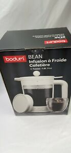 Bodum Bean 12 Cup Cold Brew White Iced Coffee Maker 2 lids, French press NEW !