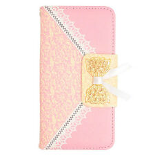 L.Pink Lace Pattern Wallet Case Cover For LG Ultimate 2 L41C Straight Talk Phone