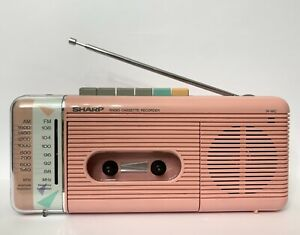 Vintage '80's Sharp Boombox AM/FM Radio Cassette Player Stranger Things QT-5(P)