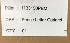 NEW Pottery Barn Peace Letter Garland, Gold & Silver Leaf Paper-Mache Christmas