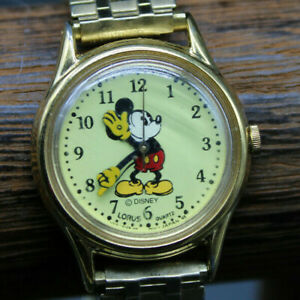 Vintage Lorus Disney Mickey Mouse Watch Seiko Metal Band Strap Gold Tone D322