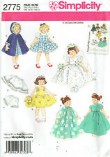 """SIMPLICITY 2775 ~  20.5cm (8"""") DOLL'S CLOTHES TO SEW, VINTAGE DESIGNS"""
