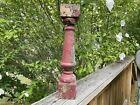 Antique Architectural Salvage Chippy Red Painted Wooden Spindle Baluster