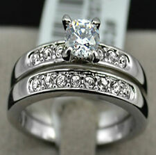 1 Carat Diamond Sterling Silver Pave Band White Gold Overlay Engagement Rings