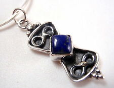 Lapis Double Infinity Symbol Infinite Love 925 Sterling Silver Necklace New