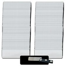 """100 BLANK 1 X 3 SILVER NAME BADGE KIT (A) TAGS 1/8"""" CORNERS MAGNETIC LABELS"""