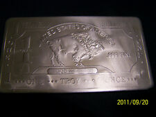 "1-TROY OUNCE OF*TITANIUM* **$1 BUFFALO BAR FRONT VIEW**  **NEW**.2""x3"