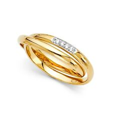 14k Yellow Gold CZ Double Wedding Band Bridal CZ Two Bands Anniversary CZ Rings