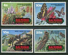 Zambia Scott #86-89 MNH Conservation Year FLORA FAUNA Butterflies CV$10+