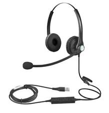USB Plug Headset Dual Side For Call Center Work Home Computer PC Laptop Mac VOIP