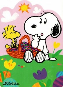 Peanuts Happy Easter Child Snoopy & Woodstock Eating Jelly Beans Hallmark Card