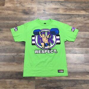 WWE John Cena T-Shirt Men's Medium Green Cenation RESPECT Never Give Up Earn It!