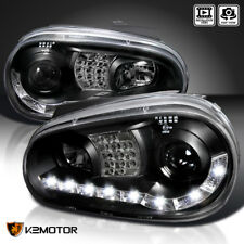Fit 99-02 VW Cabrio / 99-06 Golf MK4 LED Signal Projector Headlights Black