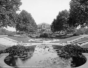 "1900 Flowers & Ponds, Fairmount Park, Philadelphia Old Photo 8.5"" x 11"" Reprint"